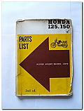 Honda 125 150 Super Sport Model CB92 Parts List Book
