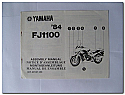 FJ1100 1984 Yamaha Assembly Manual
